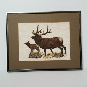 Other - Elk Antlers Needlepoint Framed Home Office Decor